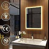 EMKE Badspiegel mit Beleuchtung 50x70 cm, Spiegel mit Beleuchtung Warmweiß, Badezimmerspiegel Wandspiegel LED Badspiegel Lichtspiegel Modell 3