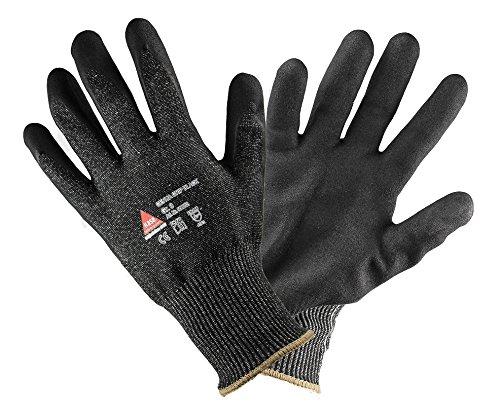 GENUA Grip schnittsichere Arbeitshandschuhe mit Nitrilbeschichtet. Montagehandschuh Schnittschutzlevel: 5, Sicherheitshandschuhe Schwarz, schnittfest, waschbar - Größe: 7