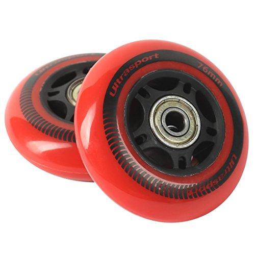 Ultrasport Waveboard-Rollen, robuste Rollen für schnellUltrasport Waveboard-Rollen, robuste Rollen für schnelles Fahren, Durchmesser 76 mm, rot im 2er-Sets Fahren, Durchmesser 76 mm, rot im 2er-Set