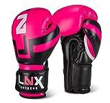 LNX Boxhandschuhe 'Performance Pro' 10 12 14 16 Oz - ideal für Kickboxen Boxen Muay Thai MMA Kampfsport uvm pink/schwarz (650) 10 Oz
