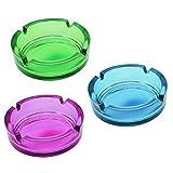 COM-FOUR 3x Glasaschenbecher, Aschenbecher aus Glas in frischen verschiedenen Farben (03 Stück - bunt)