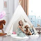 Tipi Spielzelt für Kinder mit Bodenmatte Baumwolle - Segeltuch Kinderzelt Indianer (Weiß)