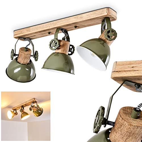 Deckenleuchte Orny, Deckenlampe aus Metall/Holz in Grün/Weiß/Braun, 3-flammig, mit verstellbaren Strahlern, 3 x E27-Fassung max. 60 Watt, Spot im Retro/Vintage Design, für LED Leuchtmittel geeignet