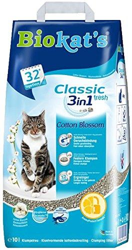 Biokat's Classic Fresh 3in1 Cotton Blossom Katzenstreu / Hochwertige Klumpstreu für Katzen mit 3 unterschiedlichen Korngrößen / 1 Papierbeutel (1 x 10 L)