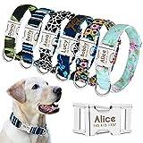 Beirui Personalisiertes Hundehalsband mit Namensschild, modisches Muster, individuelles Hundehalsband mit Schnellverschluss – für mittelgroße und große Hunde, S, M, L
