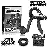 Arteesol Hand Trainingsgerät, Handtrainer Fingertrainer Set 5 (5-50kg) in 1 Unterarmtrainer Einstel (Black)