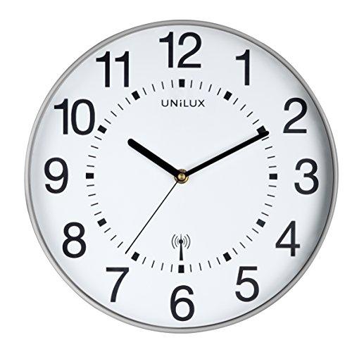 UNILUX 400094562 Funk-Wanduhr WAVE metallgrau 30 cm Funkuhr mit modernem Ziffernblatt automatische Zeitanpassung und Zeitumstellung von Sommer- und Winterzeit, modernes Ziffernblatt