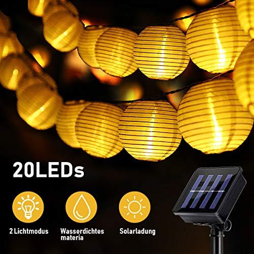 Solar lampion, SKEY Solar Lichterkette Lampion Außen 20 LED Laternen 2 Modi Wasserdicht Solar Beleuchtung für Garten, Hof, Hochzeit, Fest Deko (Warmweiß) [Energieklasse A+++]