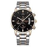 Herrenuhren DREI Sub-dials Chronograph Kalender Quarz Armbanduhren für Herren Edelstahlband Elegant, Rose Gold-Silber