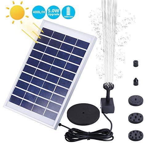 VITCOCO 5W Solar Springbrunnen Upgraded Solar Teichpumpe mit Solar Panel Eingebaute Batterie Wasserpumpe Solar Schwimmender Fontäne Pumpe mit 6 Fontänenstile für Garten, Vogel-Bad,Teich,Fisch-Behälter