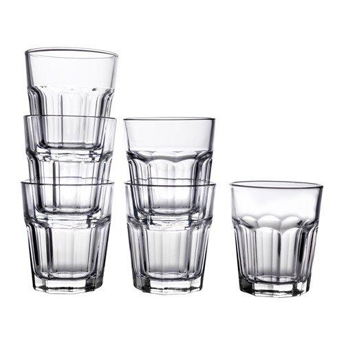 IKEA 6-er Set Gläser Pokal stapelbares Glas für kalte oder heiße Getränke - 270ml - 10 cm hoch - spülmaschinenfest