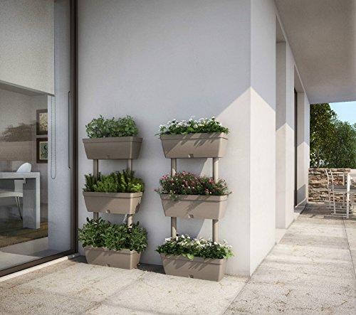 Blumentopf Blumentöpfe Blumenkästen Pflanzbehälter vertikales Gartenbeet in der Farbe taupe, Set à 1Stück 50x 17x 100 cm