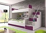 Furnistad - Etagenbett HEAVEN - Kinder Stockbett (Option rechts, Weiß + Violett)