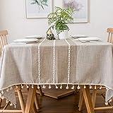 Furnily Rechteck Dekoration Tischdecke 140 cm x 200cm Baumwolle Leinen elegante Tischdecke mit Quaste Edge Staubdichte waschbare Küchentischabdeckung für Speisetisch (Leinen)
