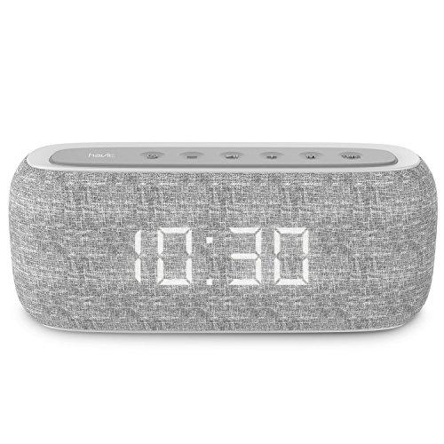 HAVIT Bluetooth Lautsprecher Box mit 10W Dual-Treiber Reinem Bass, 20 Stunden Spielzeit, FM Radio und Digitaler Wecker mit 2 Weckzeiten (Grau)