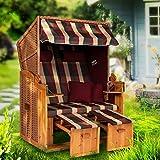 Möbelcreative Strandkorb Ostsee XXL Volllieger 2 Sitzer - 120 cm breit - Burgund rot grün inklusive Schutzhülle, ideal für Garten und Terrasse