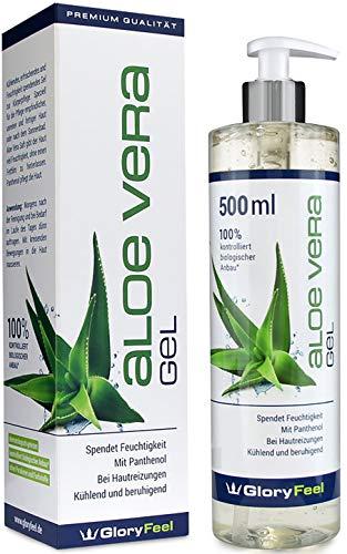 GloryFeel Aloe Vera Gel 500ml - 100% Biologisch Kontrollierter Anbau - Kühlende After Sund Lotion und Feuchtigkeitscreme - Natürliche Kosmetik Dermatologisch getestet hergestellt in Deutschland
