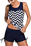 EUDOLAH Damen Mesh Bikini-Set Push up Tankini mit Hotpants verstellbare Bände Boyshorts Badeshorts (XL (EU 40-42), Marineblau)
