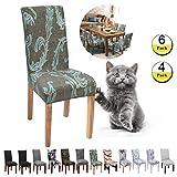 JunYito Stuhlhussen 4er 6er Elastische Set Stuhlhussen Universal Stretchhusse Stuhlbezug Stretch für Stuhl Esszimmer (K-Grüne Stimme der Kunst, 6 Stücke)
