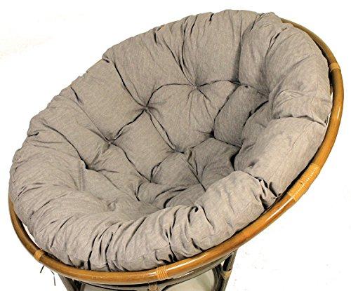 Polster für Papasansessel , Auflage , Ersatzpolster Papasan D 130 cm , Stoff Loneta dunkel grau
