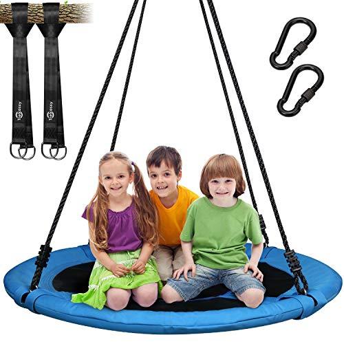 Trekassy 300KG Nestschaukel für Kinder Erwachsene Garten Indoor mit 100cm Sitzflächendurchmesser und 2 600KG belastbaren Schaukel Gurte Blau