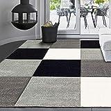 VIMODA Moderne Designer Teppiche Verschiedene Muster Lila Rot Grau Schwarz Weiss 80x150 cm