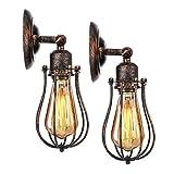 KINGSO 2er Pack Wandlampe Vintage Wandleuchte Retro Deckenleuchte Schwenkbar Hängeleuchte Industrial E27 Edison Metall Lampenschirm für Schlafzimmer Wohnzimmer Esstisch