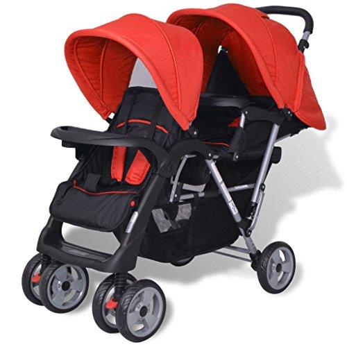 vidaXL Geschwisterwagen Geschwister-Kinderwagen Baby Zwillingsbuggy Rot/ Schwarz