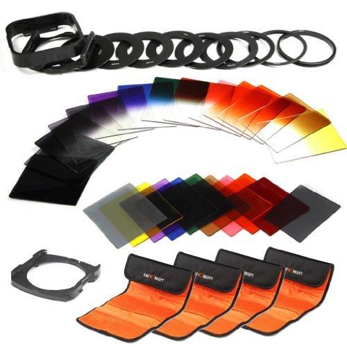 K&F Concept 40 Stück Quadratisch Objektiv Filterset Farbfilter Set Verlaufsfilter Set(9er Verlaufsfilter+8er Farbfilter+7er ND Filter Set(Graifilter Set)+ 9er Objektiv Filteradapter Ringe+Gegenlichtblende+4er Filtertaschen+2er Quadratisch Filterhalter)