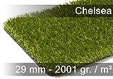 exteriortrend Luxus Kunstrasen Rasenteppich Chelsea Grün in 19 Größen