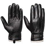 Acdyion Herren Winter Lederhandschuhe Touchscreen geeignet Wollfutter Handschuhe aus Echtleder (M)