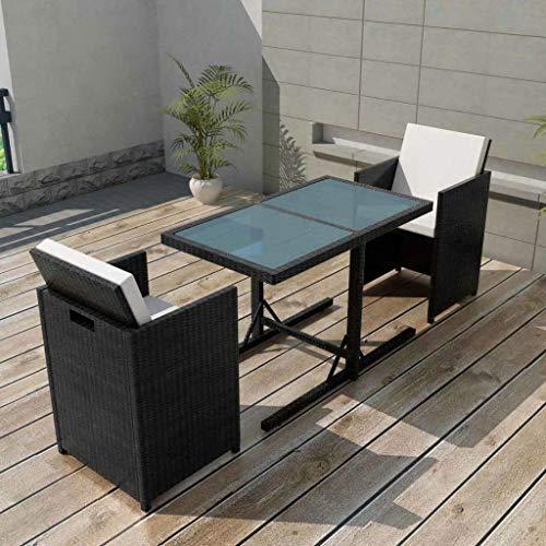 Tidyard 7-TLG. Garten-Essgruppe Poly Rattan Gartengruppe Gartenmöbel Gartengarnitur Schwarz Terrasse Sitzgruppe 1 Tisch mit Glasplatte, 2 Stühle und 4 Sitzpolster