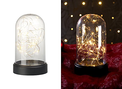 Lunartec Haus-Deko: Deko-Leuchte aus Echtglas mit 20 warmweißen LEDs, batteriebetrieben (Deko-Artikel)