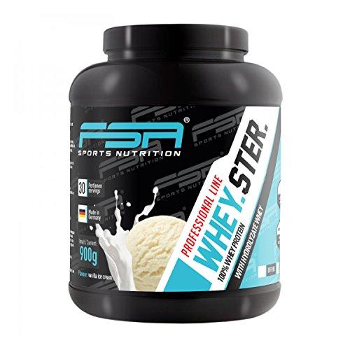 Whey Protein Eiweißpulver der deutschen Profisport Marke FSA Nutrition | Low Carb Proteinpulver mit BCAA | Für Muskelaufbau, Abnehmen, Fitness, Sport und Bodybuilding | 900g | Vanilla Ice Cream
