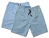 Moonline - Herren Webhose kurz als Freizeithose und Loungehose - 2 Stück im Pack, Farbe:blau/hell blau, Größe:50/52
