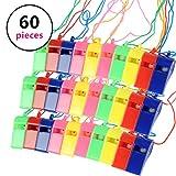 OFNMY Whistle Pfeife Kunststoff Trillerpfeife Kunststoffpfeifen mit Hang Rope Notüberlebens Ideal Für Pfeife Sport Partytüten(60 Stück)