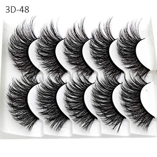 Falsche Wimpern, 5 Paare 3D Wimpern Künstliche Natürliche Schwarz Lange Pure Handgemacht mit Unsichtbares Band Wiederverwendbar