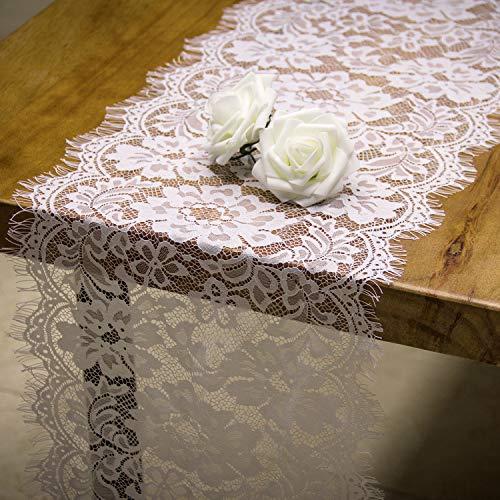 RUSPEPA White Lace Tischläufer - Rustikale Spitze Stoff Für Vintage Hochzeit Party Dekoration - 28CM X 300CM