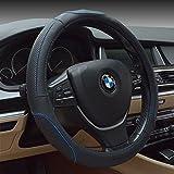 HCMAX Fahrzeug Lenkradabdeckung Auto Lenkradschutz Universal Durchmesser 38cm (15') Echtleder