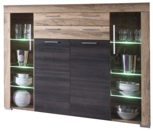 Trendteam smart living Wohnzimmer Schrank Wohnzimmerschrank Boom, 160 x 137 x 40 cm in Nussbaum Satin (Nb.) mit LED Beleuchtung in Warm Weiß