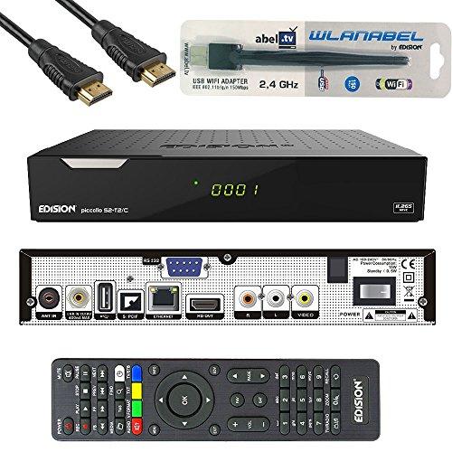 Edision Kabelreceiver Piccollo S2+T2/C Full HD HDTV DVB-C/T2/S2 (HDMI, AV, USB 2.0,Display,IR-Auge,CA,CI,LAN,WLAN) inkl.Kabelabel HDMI Kabel