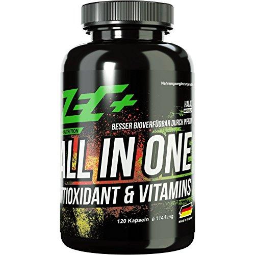 ZEC+ ALL in ONE ANTIOXIDANT & VITAMIN | Multivitamin-Präparat mit Antioxidantien und optimalem Wirkstoffkomplex | alle Vitamine und Mineralien | Spurenelemente | zusätzlich Traubenkernextrakt | Alpha-Liponsäure | Resveratrol | 120 Stück