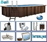 Interline 50700240 Bali Auf-und Erdeinbau Holzwand oval Pool 6,40m x 4,00m x 1,38m