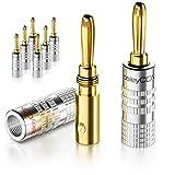 deleyCON MK3449 Bananenstecker 8er Set vergoldet schraubbar für Lautsprecherkabel & HiFi Receiver