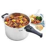 VonShef Edelstahl Schnellkochtopf 3 Liter oder 6 Liter, geeignet für alle Kochflächen (6 Litre)