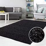 carpet city Teppich Shaggy Hochflor Langflor Flokati Einfarbig/Uni aus Polypropylen in Schwarz für Wohn-Schlafzimmer, Größe: 300x400 cm