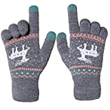 Chalier Damen Strick Handschuhe Touchscreen warme Fäustlinge Winter Damenhandschuhe mit Fleecefutter MEHRWEG
