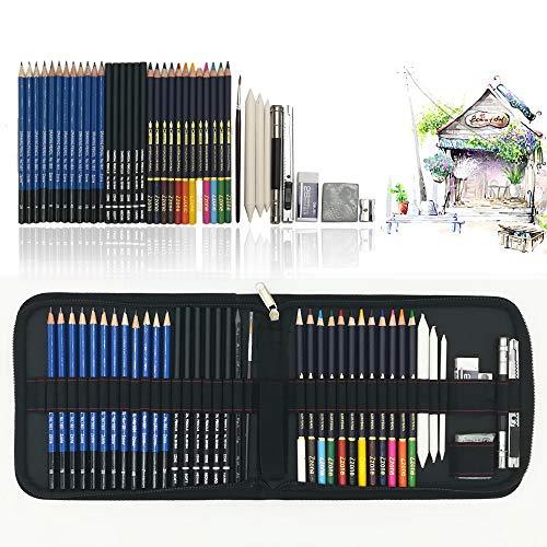 41 Stück Bleistift Zeichnen Set mit aquarell buntstifte wasservermalbar, Zeichnen Graphite Set In Federmäppchen, beste Geschenk zeichnen für Anfänger,Künstler, Schüler, Kinder