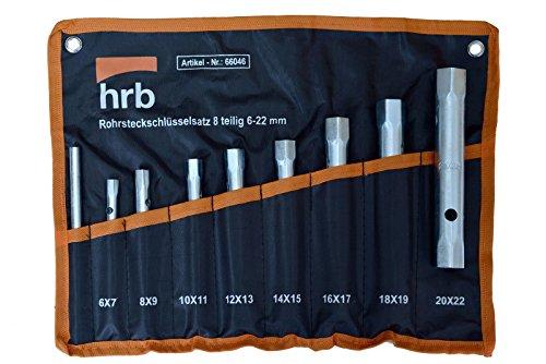 Rohrsteckschlüsselsatz 8-tlg. Größen 6 - 22 mm in Rolltasche