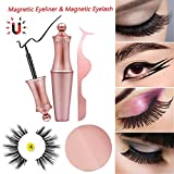 Magnetic Eyeliner,Magnetische Wimpern Kit Wasserdichter,Langlebiger Eyeliner Mit 5 Magnete Wimpern 3D Künstliche Magnetische Wimpern,Magnetischer Eyeliner Wiederverwendbare Falsche Magnetic Eyelashes